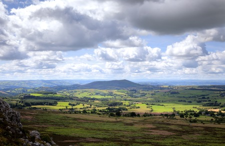 gb: View over Shropshire farmland, Stiperstones, England