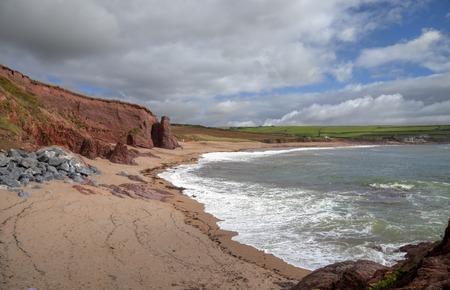 devon: The beach in summer at Thurlestone Bay, Devon, England.