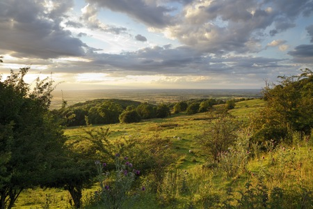 gloucestershire: Looking towards Evesham from Dovers Hill, Gloucestershire, England. Stock Photo