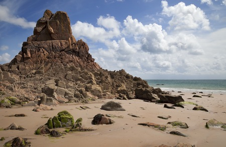 great bay: The unusual rock formations at Beauport Bay, Jersey, Channel Islands, Great Britain