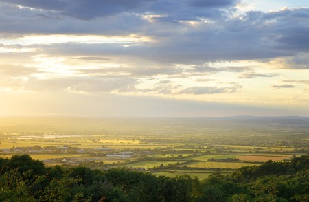 Looking towards Evesham from Dovers Hill, Gloucestershire, England. Stockfoto