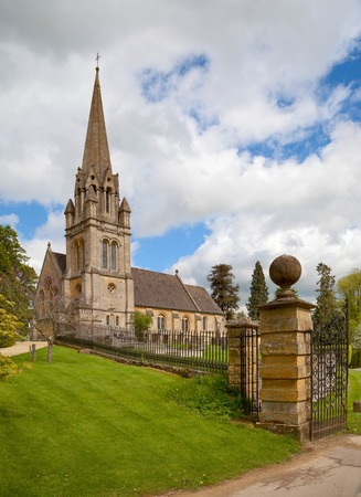 vernacular: Cotswold church at the tiny village of Batsford, Gloucestershire, England. Stock Photo