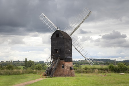 worcestershire: Traditional post-mill, windmill, Worcestershire, England.