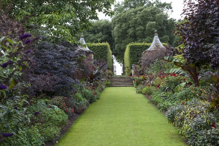 british isles: Formal country garden, Gloucestershire, England.