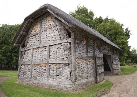 worcestershire: Thatched, timber-framed hay barn with wattle panels, Worcestershire, England.