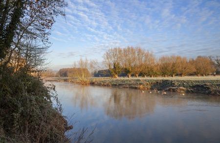 warwickshire: Winter at the River Avon, Warwickshire, England.
