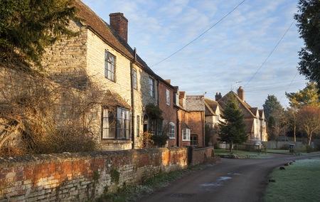 warwickshire: Cottages at Welford on Avon village, Warwickshire, England.