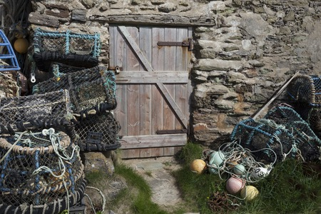 lobster pot: Lobster pots at Hope Cove, Devon, England