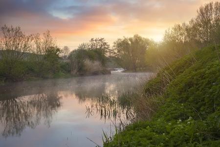 british isles: River Avon at dawn, Welford on Avon, Warwickshire, England