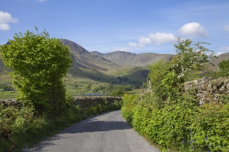cumbria: Pretty lane at Little Langdale Tarn, Lake District, Cumbria, England