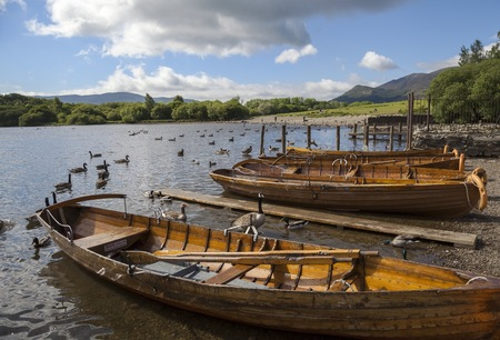 cumbria: Boats at Derwent Water, The Lake District, Cumbria, England