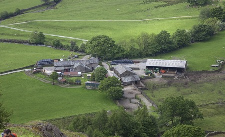 lake district: Cumbrian farm from Helm Crag, The Lake District, England Stock Photo
