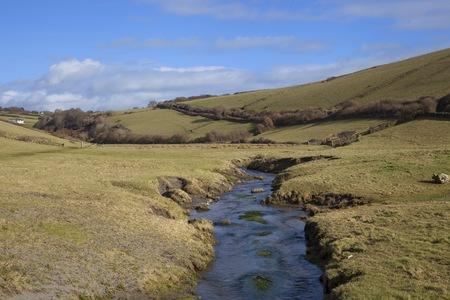 devon: River leading to Ayrmer Cove, Devon, England
