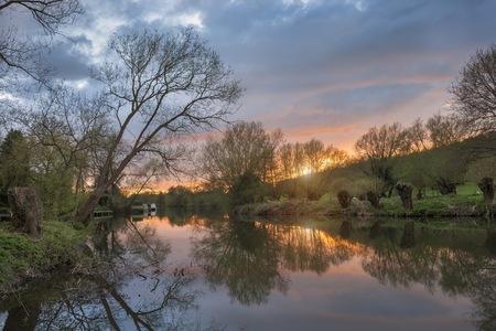 River Avon at Sunset, Warwickshire, England
