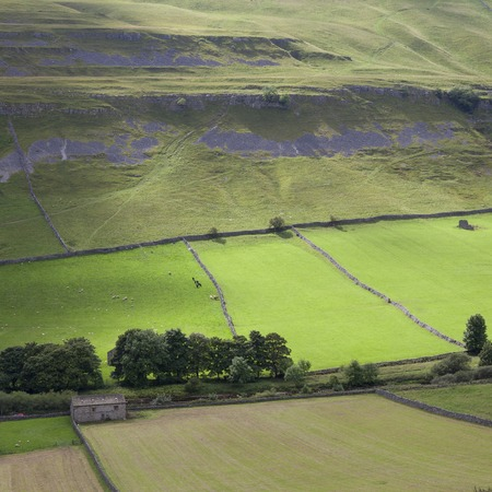 Wharfedale landschap, Wharfedale, Yorkshire Dales National Park, Engeland. Stockfoto