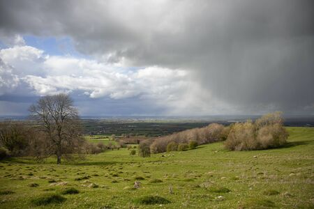 Cotswold landscape with hail storm near Chipping Campden, Gloucestershire, England