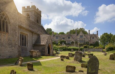 Church and manor at Asthall, Cotswolds, Oxfordshire, England