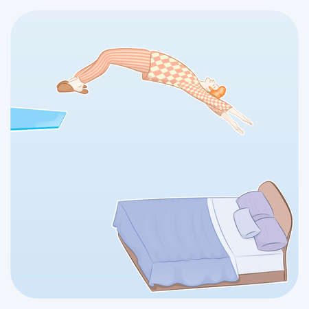 Sleepyhead jumps into bed. The guy in the pajamas jumps from the tower to the bed, he smiles in anticipation of a sweet dream.