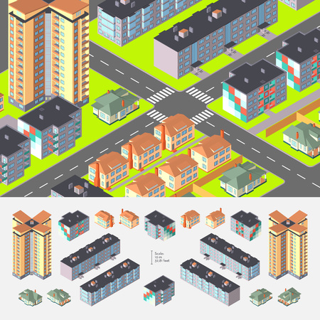 logically: Isometric Dwelling Buildings. Editable with elements logically layered