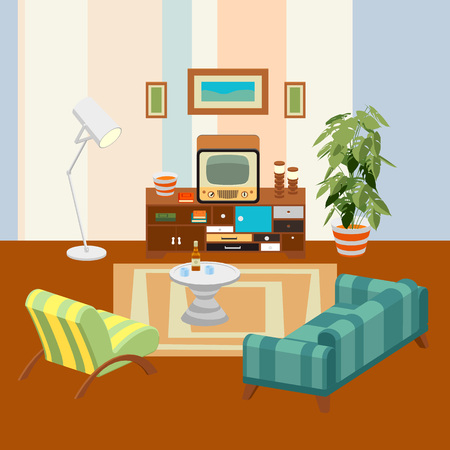 living room design: Retro Living Room