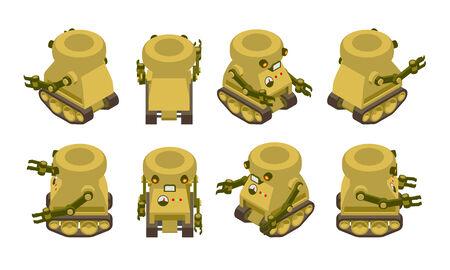 crawler: Isometric khaki military robot on crawler tracks