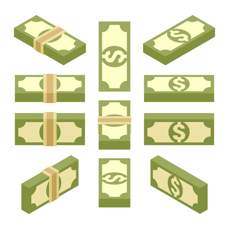 Set of the isometric bundles of paper money. The objects are isolated against the white background and shown from different sides