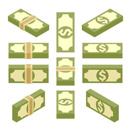 apilar: Conjunto de los haces isométricas de papel moneda. Los objetos están aislados contra el fondo blanco y se muestran desde diferentes lados