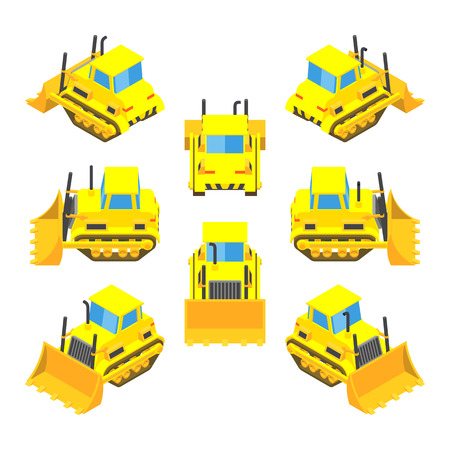 Set of the isometric yellow bulldozers. The objects are isolated against the white background and shown from different sides