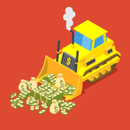 dozing: A bulldozer is dozing money into pile. Conceptual illustration suitable for advertising and promotion