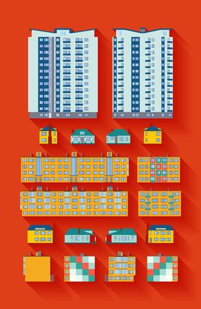 dwelling: Dwelling Buildings against the red background. Flat design, long shadows