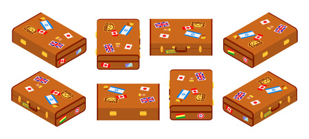 sides: Set of lying brown travelers suitcases with the stickers. The objects are isolated against the white background and shown from different sides