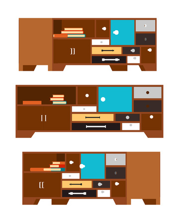 depository: Side tableswith the drawers and doors. Retro style. The objects are isolated against the white background and shown from different sides