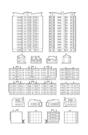 dwelling: Dwelling Buildings Black and white outline illustration Illustration