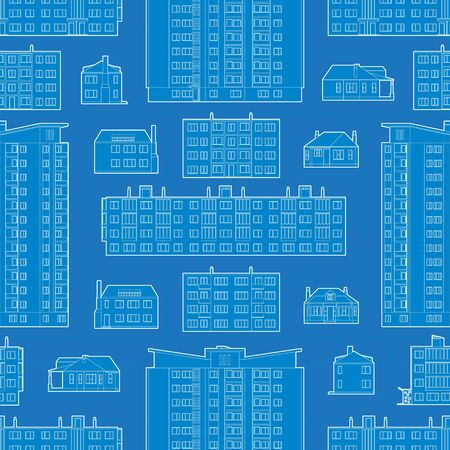 dwelling: Seamless pattern with blueprint of dwelling buildings. The layout is fully editable