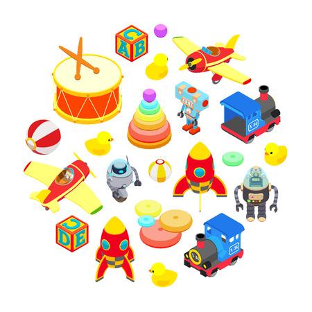 Set isometrische Spielzeug vor dem weißen Hintergrund isoliert. Konzeptionelle Darstellung für Werbung und Verkaufsförderung