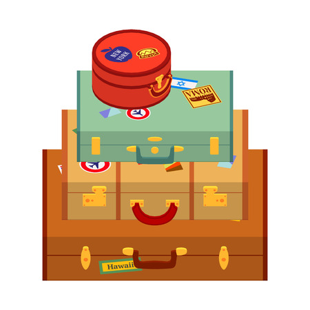 logically: Travelers suitcases with the stickers. The objects are isolated against the white background and logically layered