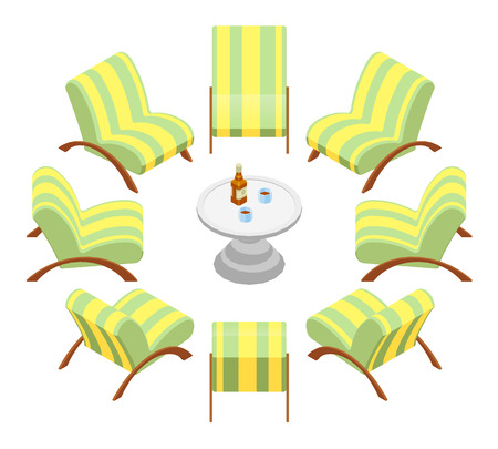 Isometric armchairs with wooden armrests and a coffee table. The objects are isolated against the white background and shown from different sides Illustration