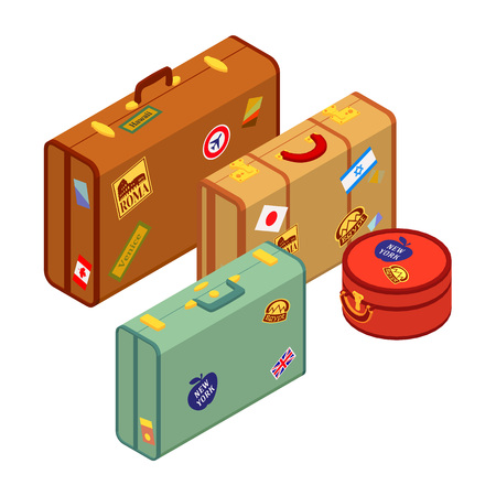 suitcase packing: Travelers suitcases with the stickers. The objects are isolated against the white background and logically layered