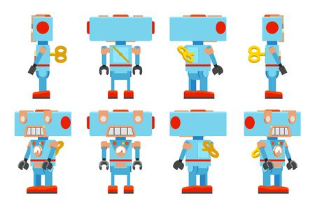 automaton: Toy Robot with a key behind. The objects are isolated against the white background and shown from different sides