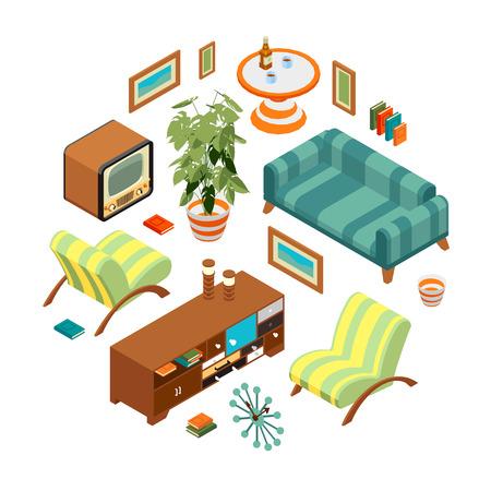 Isometrisch voorwerpen uit een retro woonkamer. De objecten zijn geïsoleerd tegen de witte achtergrond en getoond van verschillende kanten