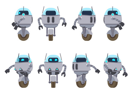sides: One-wheel futuristic robot. The objects are isolated against the white background and shown from different sides Illustration