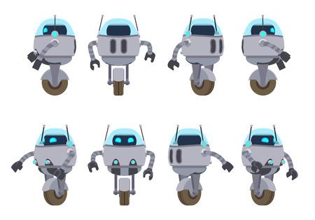 robot: Uno ruedas robot futurista. Los objetos están aislados contra el fondo blanco y se muestran desde diferentes lados Vectores