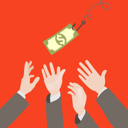 Hooked money and reaching hands. Motivation or illusion. Conceptual illustration suitable for advertising and promotion Vector
