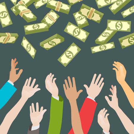 Mani, denaro cattura caduta dall'alto. La motivazione o la carità. Illustrazione concettuale adatto per la pubblicità e la promozione