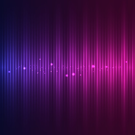 Sound wave with particle effects on an abstract blue and purple background Vectores
