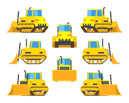 bulldozers: Set of the yellow bulldozers. The objects are isolated against the white background and shown from different sides Illustration