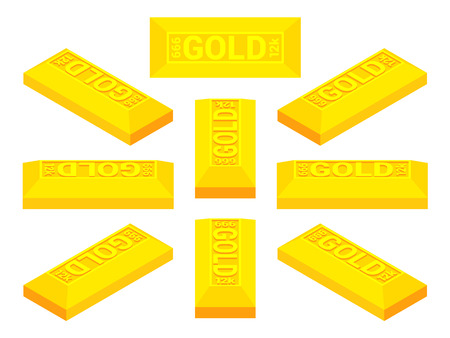 Set of the isometric golden bars. The objects are isolated against the white background and shown from different sides Vector