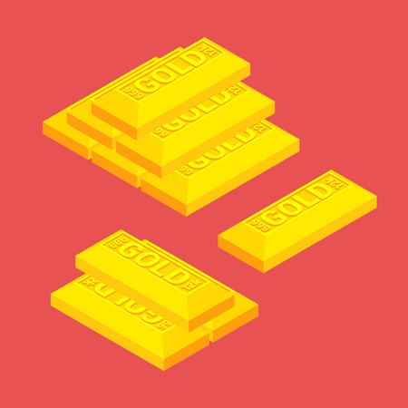Isometric golden bars on the red background Vector