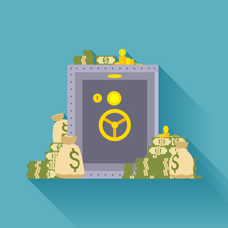 Metal safe storage, golden coins, bags of money. Conceptual illustration suitable for advertising and promotion Vectores