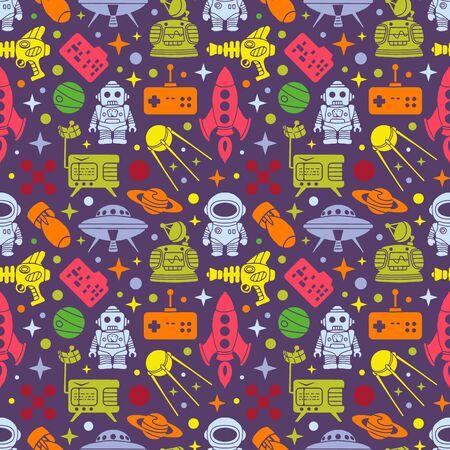 scifi: Sci-fi retro pattern. Multi colored objects on the dark background